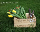 Mothers Day gift Gardening box, garden crate,  pyrography art, vegetable box, gardeners gift