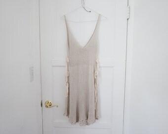 100% Bamboo Vegan Knitted Summer Dress, Natural Beige