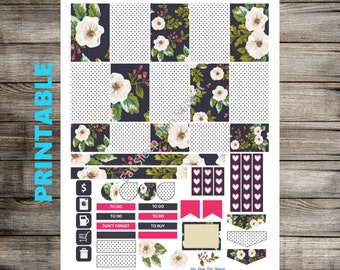 PRINTABLE for Happy Planner - Black Floral and Polka Dot Weekly Planner Sticker Kit Mambi Happy Planner