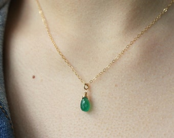 Green Onyx Drop Necklace, Gold Filled Chain, Green Gemstone, Minimalist Jewelry