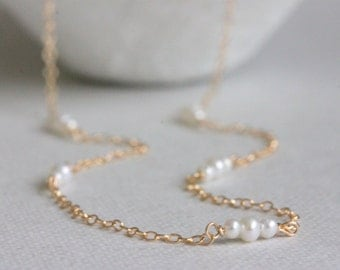 Tiny Freshwater Pearl Necklace Gold Filled, 14K Gold Filled Necklace, White Freshwater Pearls, Bridal Jewelry