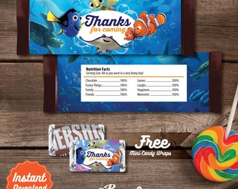 Finding Dory Printable Candy Bar Wrapper, Finding Dory Labels, Finding Dory Birthday decoration, instant download, DIY