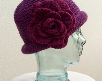 Crocheted Flower Cloche Hat