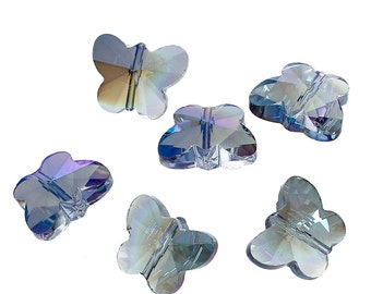 15 mm x 12 mm Chinese Crystal Faceted Butterfly, Blue (1821)