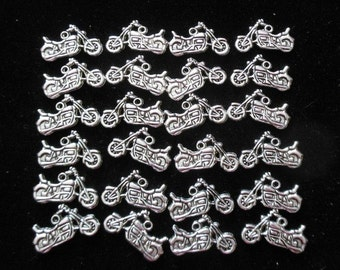 24 Antique Silver Nicely Detailed Motorcycle Charms (B97e)