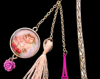 Marque-page // Bookmark romantic Paris and pink Eiffel tower
