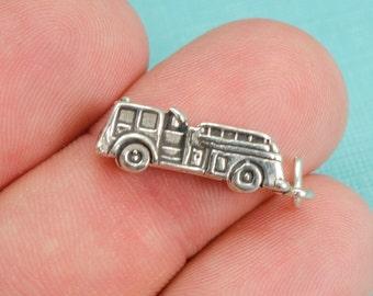 Sterling Silver 3D Fire Engine Bracelet Charm, Fireman, Fire Department, Gift, Fire Truck, Pendant, Jewelry, .925 Silver, DIY, (C189)