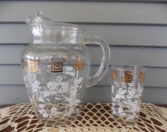 17 Piece Set: 16 Glasses & Pitcher Set Clear Glass with Gold Squares and White Flowers