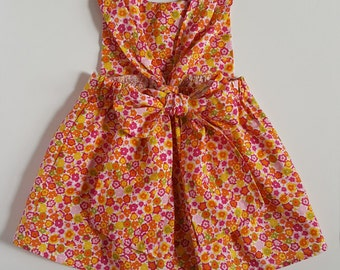 Dog Floral Back Bow Dress, Dog Clothes, Dog Dress, Pet Floral Summer Dress, Dog Summer Floral Dress, Puppy Clothes, Puppy Floral Dress