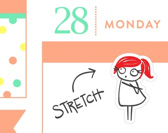 P045 - Stretch sticker, Planner sticker, workout sticker, exercise reminder, hydrate stickers, yoga stickers, 32 stickers, MINI size, PPC166