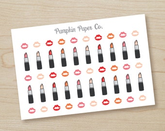 P222-Lipstick planner stickers, planner stickers, girl's night stickers, reminder stickers, makeup stickers, 50 stickers, PPC82