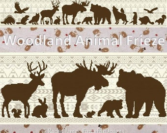 Woodland Animal Silhouette Cross Stitch Frieze Pattern PDF | Easy | Modern | Beginners Counted Cross Stitch | Instant Download