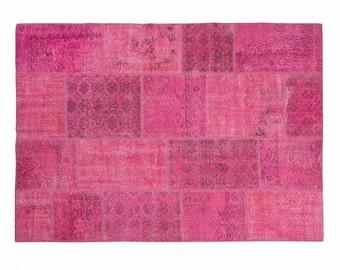 Meryem: Pink Fuchsia Overdyed Vintage Carpets Handmade in Turkey Outlet Store