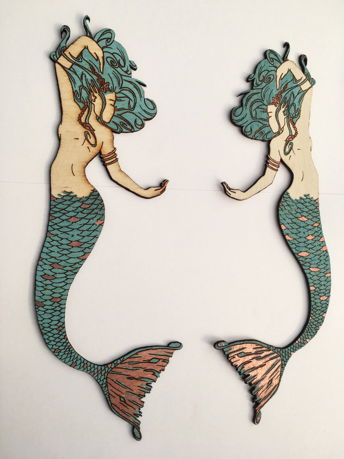 Wooden Mermaid Wall Decor large mermaid wall decor with copper leaf accents, decorative