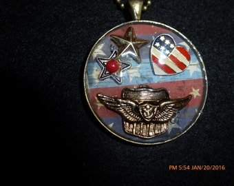Vintage Patriotic Military Necklace