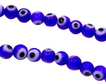 BULK 100 pcs 6mm Blue Evil Eye Beads   Small Evil Eye Beads, 6mm Evil Eye Beads, 6mm Glass Beads, Blue Evil Eye Glass Beads