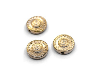 10 Gold Tone Round  Beads | Gold Round Beads, Metal Beads, Round Metal Beads, Swirl Beads, Spiral Beads