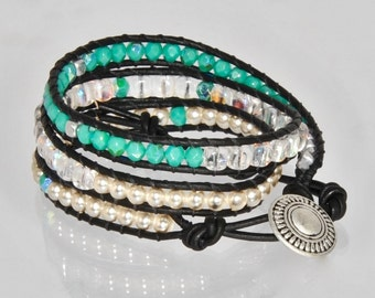 Turquoise Leather Beaded Bracelet for Women in Chan Luu Style Beaded Wrap Bracelets Chan Luu