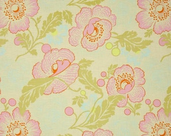 Amy Butler Midwest Modern Fresh Poppies in Ivory Fabric - Floral Fabric by the Yard - Pink Aqua Turquoise Flower - Summer Girls Quilt Fabric