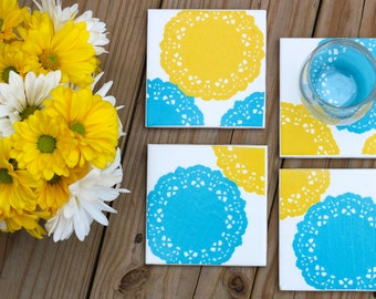 Blue/Yellow Doily Coasters - Set of 4