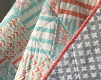 Baby Girl Quilt- Toddler Quilt- Lap Quilt- Kids Bedding-Nursery Bedding- Coral-Gold-Blue-Gray-Flowers-Stripes- Chevron-Flannel-Plus Signs