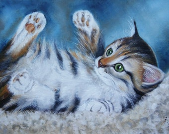 Playful kitten Oil painting cat
