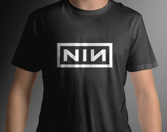 NINE inch nails Rock band music Logo NIN Tee C28