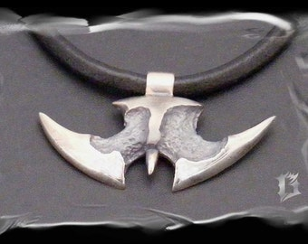 Sterling silver tribal pendant, oxidized and brushed #477