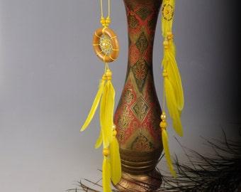 Yellow hair clips pendants handmade exclusive Dreamcatcher hair clips pendants yellow DreamCatcher Dreamcatchers gift Christmas hair clips