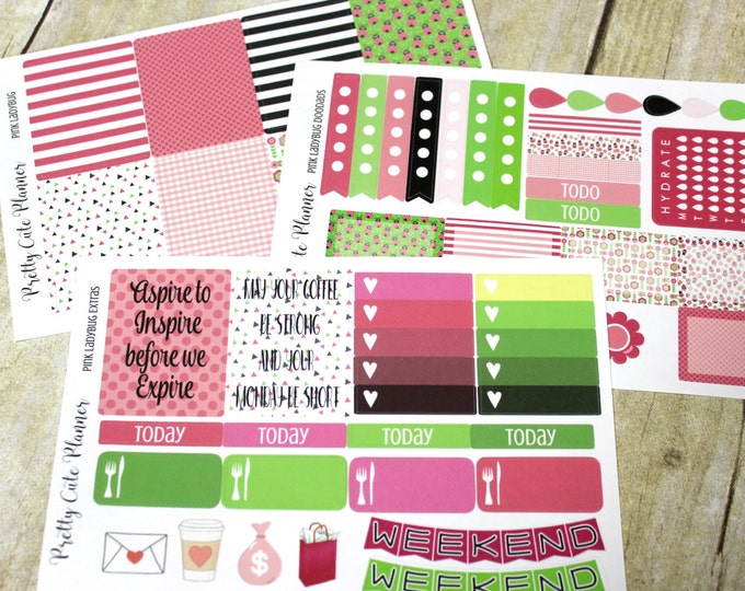 Planner Stickers Set - Weekly Planner Sticker Set Erin Condren Life Planner - Happy Planner - Functional stickers - Ladybug planner stickers