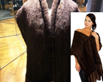 Elegant scarf (shawl) of large knitting mink | Fur Solsona