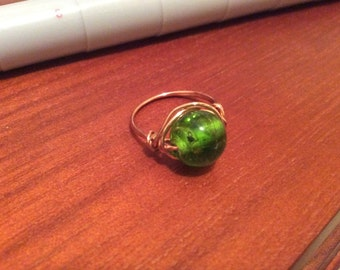 Green Bubble Bead Ring