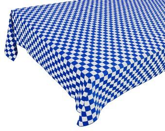 Cotton Table Cloth Checker Board Blue