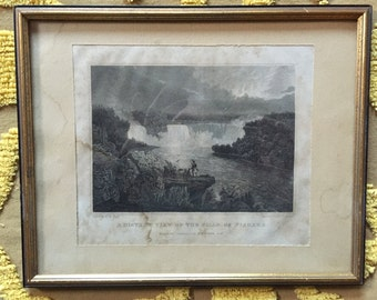 Antique 1835 Engraving of a Thomas Cole Niagara Falls Painting