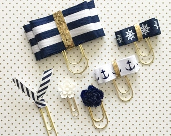 Nautical Navy and White Ribbon Double Bow Clip Set