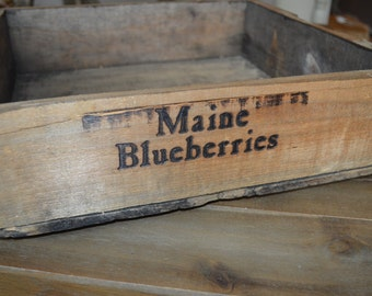 Stackable Wooden Maine Blueberry Crate/Tray