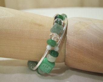 Memory wire wrap gemstone bracelet