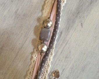 jagged bracelet pink & grey