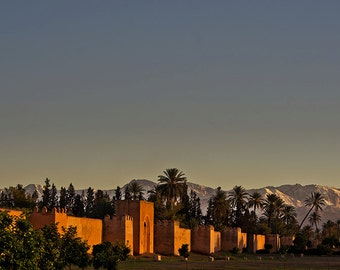 City Walls and Atlas mountains in the sunset [2]