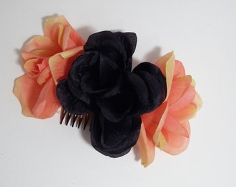 Black Peach Rose Trio Hair Comb