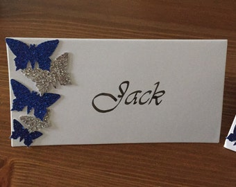 Glitter Butterfly Place Name Cards with Calligraphy