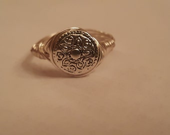 Wire Wrapped Silver tone ring