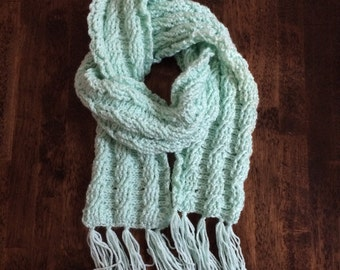 Cable Crochet Scarf, Mint