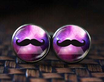 Hipster Mustache cufflinks, Hipster men's Jewelry, mustache cufflinks, Hipster cuff links, Space Nebula Galaxy Mustache cufflinks
