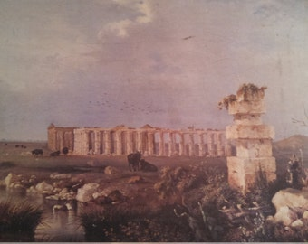 Temples of Paestum by Pitloo Canvas Print