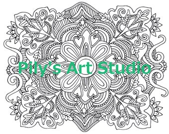 Instant Download PDF Flowers Zentangle coloring page