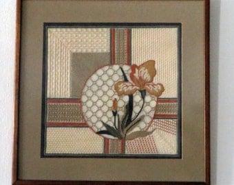 Handmade Needlepoint Sampler of an Iris