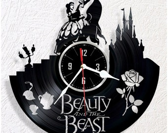Vinyl wall clock Beauty and the Beast