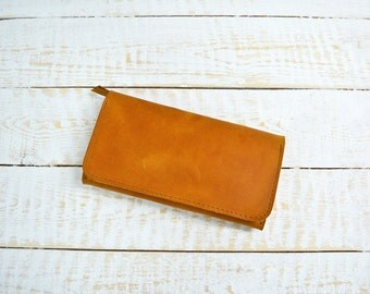 Handmade credit card wallet, womens leather wallet, ginger wallet, carryall, long leather purse, large leather wallet, modern minimal