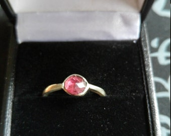 Silver and Garnet stacking ring uk size L